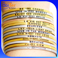 Stainless Steel Personalized Womens&Mens Bracelets,Custom Fashion Bangles and Bracelets,Inspirational Quote Cuff Bangle Bracelet