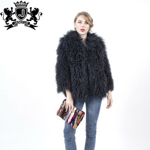 High Quality Long Lamb Fur Coat Orange Curly Lamb Fur Coat Made In China