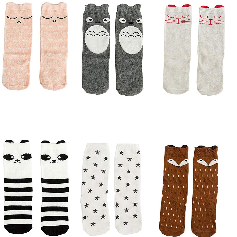 Lucky staryuan 4Pairs Baby Girls High Socks Non-slip Tube Stockings for Spring Summer