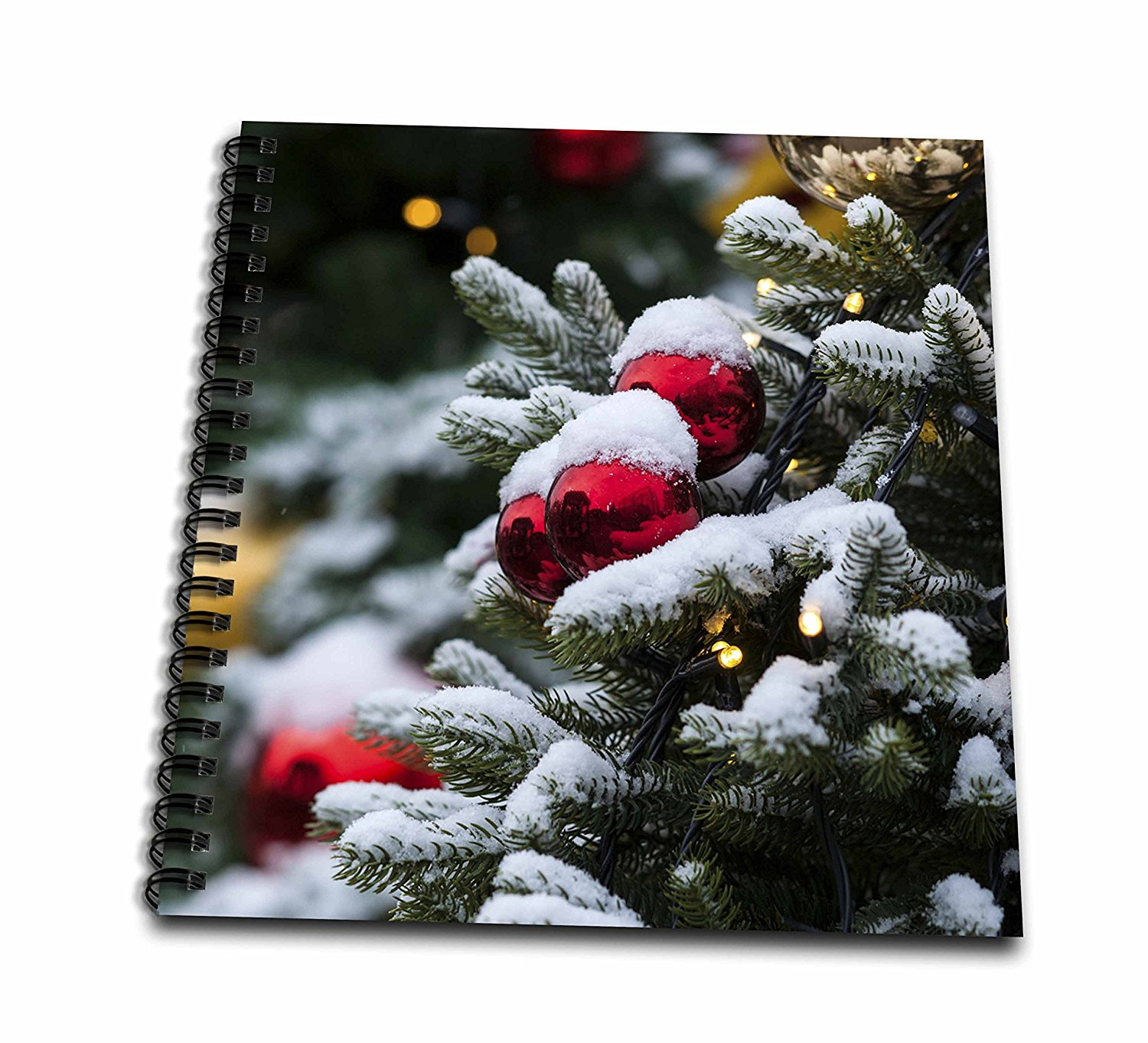 3dRose Alexis Photography - Holidays Christmas - Decorated Christmas tree covered with fresh snow. Lights, ornaments - Memory Book 12 x 12 inch (db_275960_2)