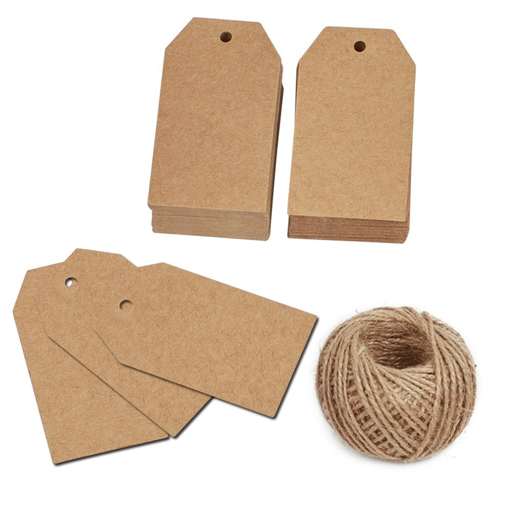 KINGLAKE 100 Pcs Gift Tags with String Kraft Paper Vintage Wedding Hang Tags 7x4cm with 100 Feet Natural Jute Twine