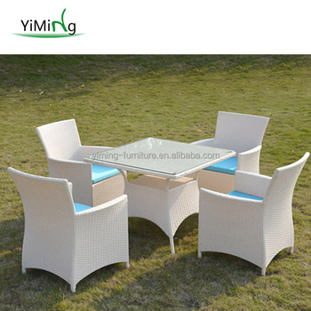 Outdoor Furniture White Wicker Cafe