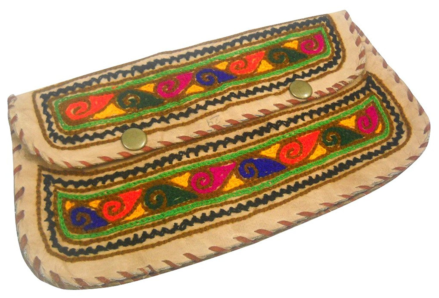 Beautiful Handmade Multi Color Embroidered 100% Pure Camel Leather Hand Purse