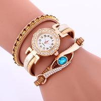 2017 New ladies watches Fashion Women diamond bracelet watches Wrap Around pu leather Quartz Wrist Watch LNW309