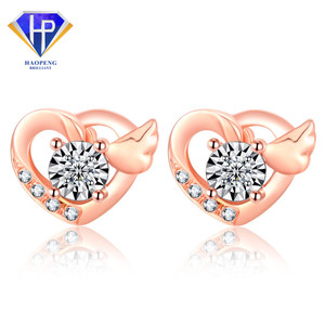 AT0111 Factory Hot Sell Stylish Heart&Wing 18K Solid AU750 Rose Gold Diamond Earrings Jewelry