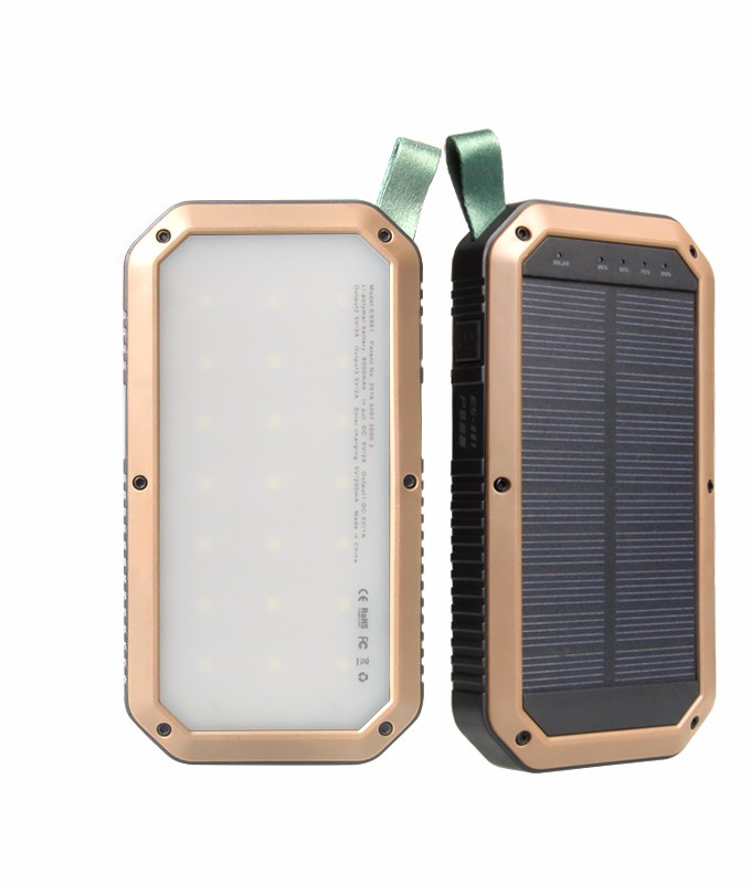 Portable Charger Power Bank 8000mAh External Battery Charger Light Flash Solar Power Bank