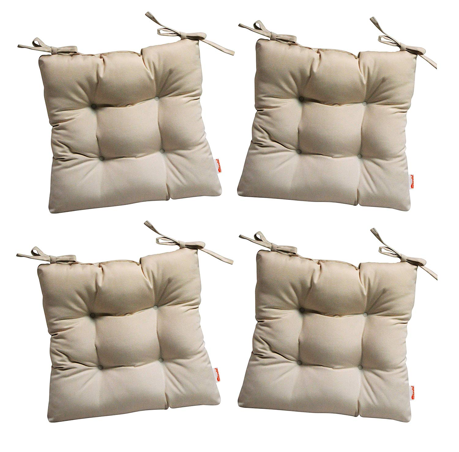 """RSH Décor Set of 4 - Indoor/Outdoor Sunbrella Canvas Canvas (Beige) Tufted Seat Cushions with Ties for Dining/Patio Chairs - Choose Size (21"""" x 21"""")"""