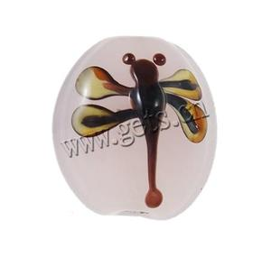 bumpy lampwork round beads with animal pattern