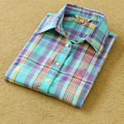 Custom logo ladies blouse cotton plaid latest design girls top and blouse