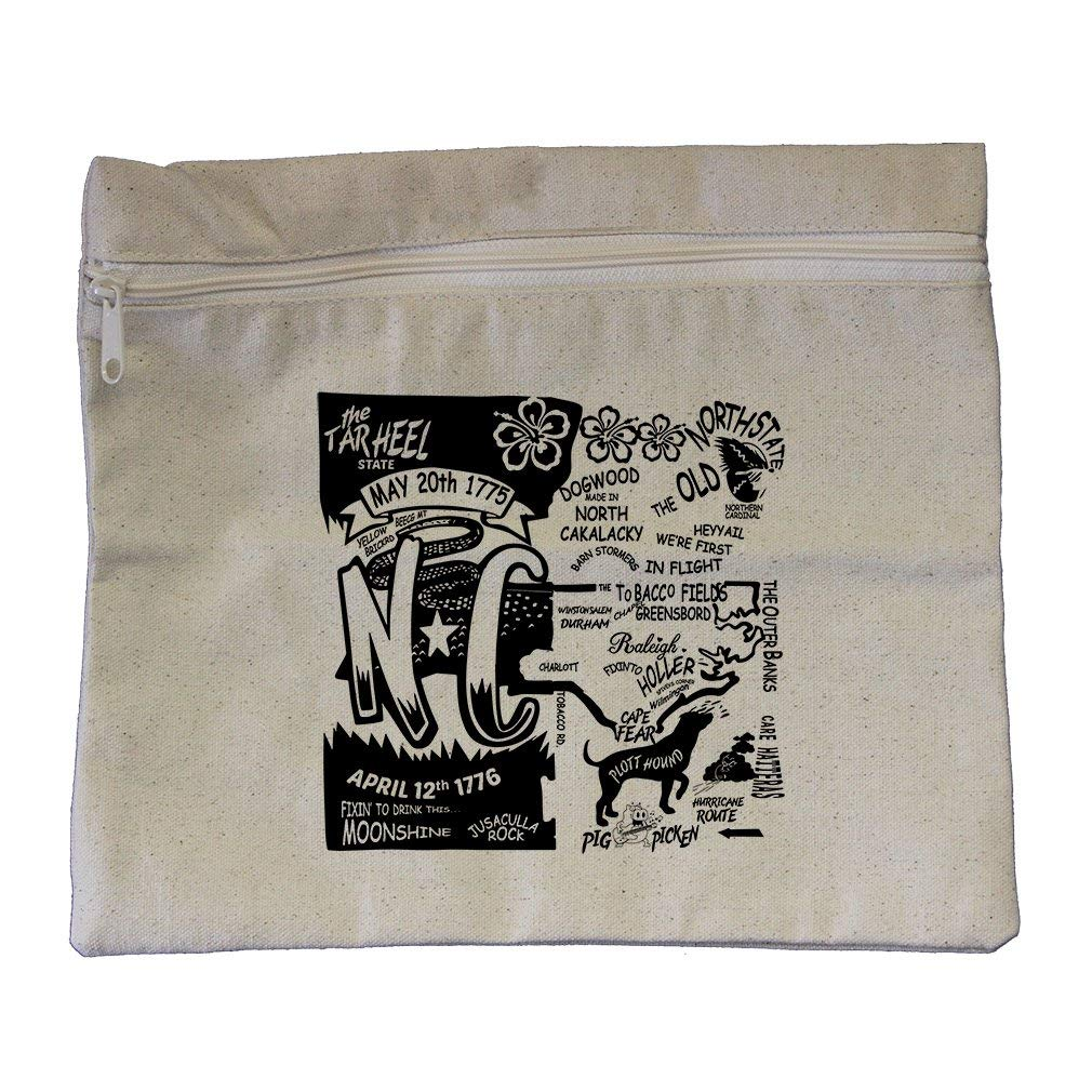 ad535cc707b89a Get Quotations · The Tar Heel State Canvas Zippered Pouch Makeup Bag