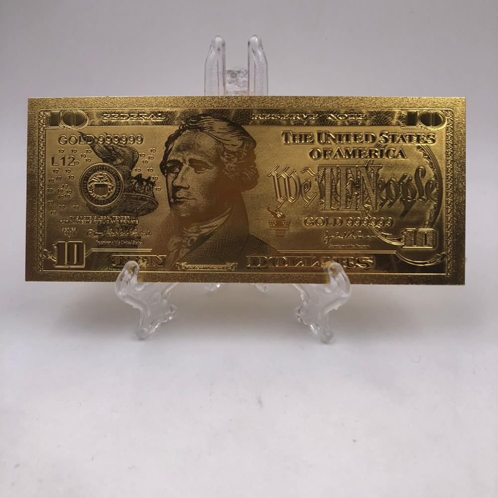 Kelin Pure Gold Plated Banknotes Collectible US $10 Paper Money with stand for Gifts