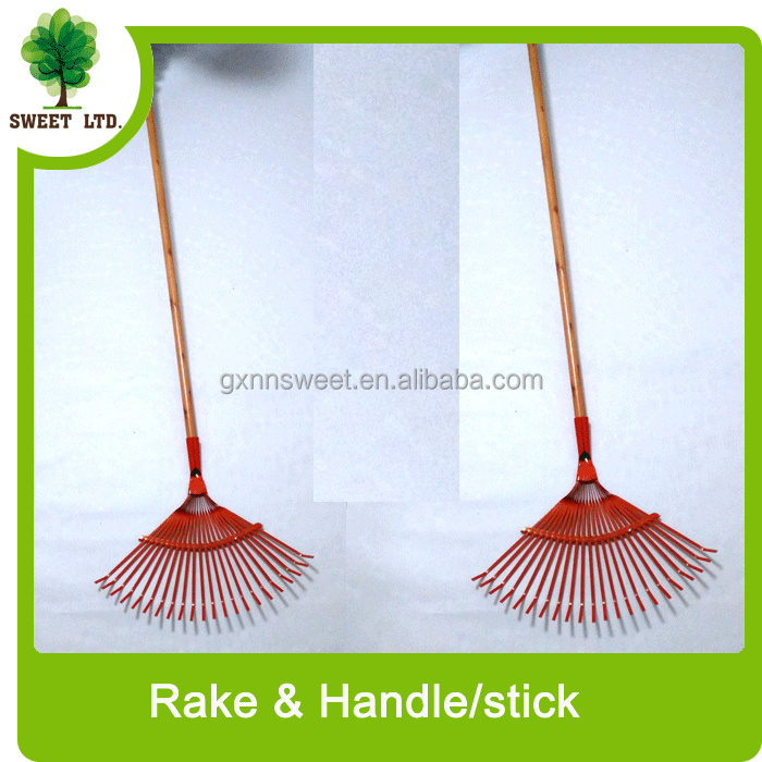 garden tools wood handle rake / high quality shovel with wooden stick