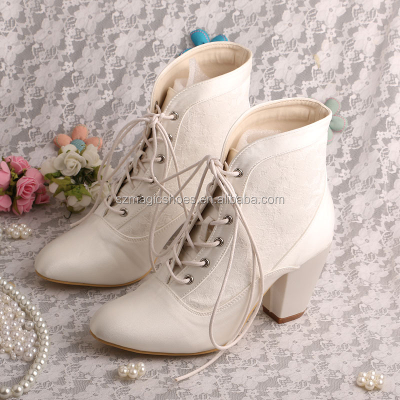 Lace Up Winter Wedding Boots Bridal Chunky Heel Product On Alibaba