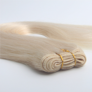 8A Grade 20 inch Double Drawn #60 color White Platinum blonde Remy Russian Human Hair weft Extension