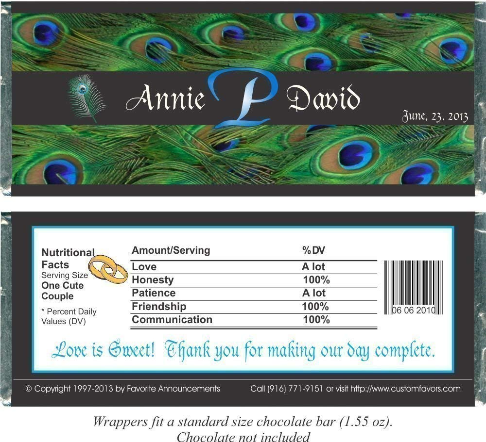 Personalized Peacock Theme Wedding Favor Candy Bar Wrappers, Fits a Chocolate Bar, (set of 12)(W667/K134)