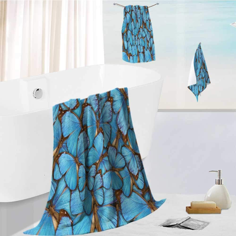 AmaPark Family Big Bath Towel set abstract background tropical butterflys morpho menelaus Printing Print Bath Towel Super Absorbent Body Wrap Pool Towel