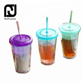 450 ML Eco-friendly double wall straw cup water bottle