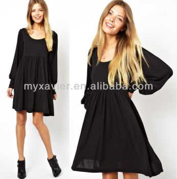 Adult Art Smock Dress In Crepe With Long Sleevessemi Formal Dresses
