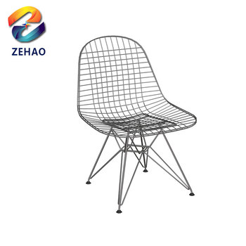 Hollow Living Dining Moden Gold White Black Side Metal Wire Chair Outdoor