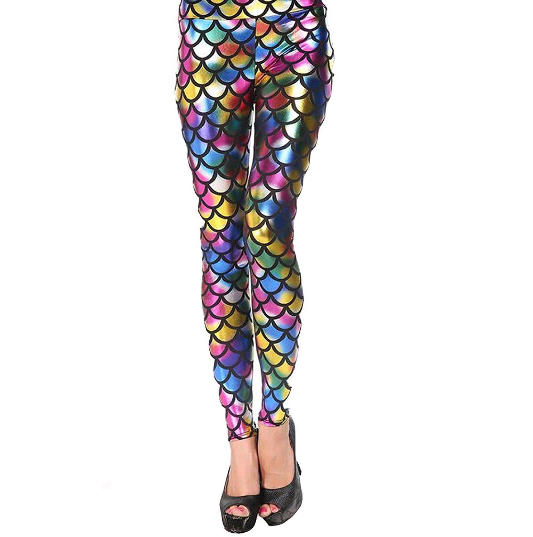 4d1f042512 Get Quotations · YOBOKO Mermaid Leggings, Mermaid Fish Scale Printed  Leggings Stretch Tight Pants For Women Pants S