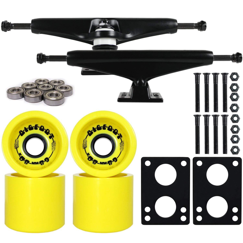 """Longboard Skateboard Trucks Combo Set 68mm Bigfoot Boardwalk Wheels with Black Trucks, Bearings, and Hardware Package (68mm Yellow Wheels, 7.0 (9.63"""") Black Trucks)"""