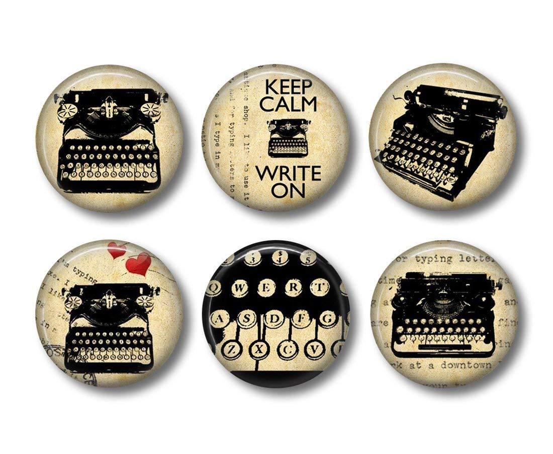 Vintage Typewriter - Fridge Magnets - Writer Magnets - 6 Magnets - Gift for Writer - 1.5 Inch Magnets - Kitchen Magnets - Typewriter Magnets