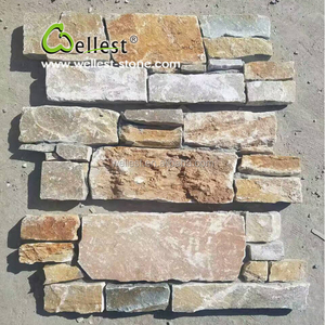 Sandy yellow split face cultured stone wall facade tile for Interior wall stone