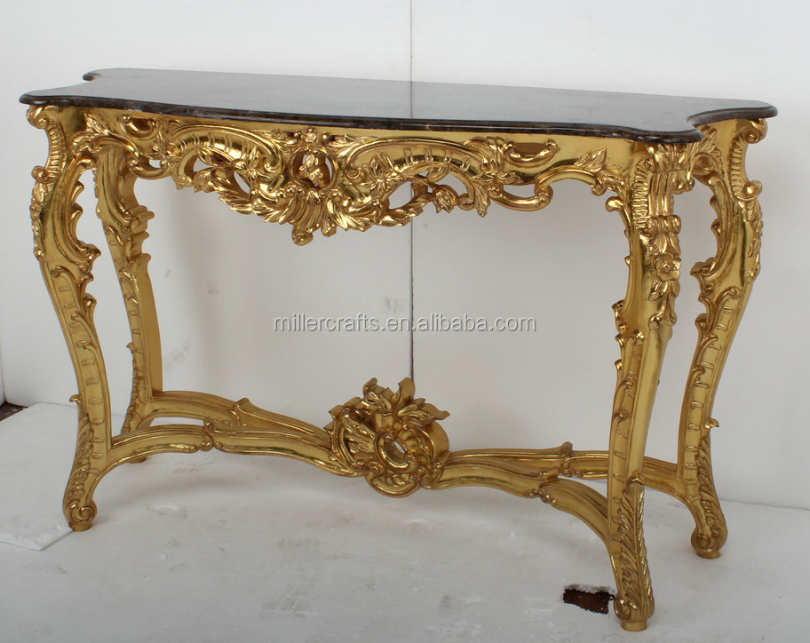 Gold Leaf Antique Marble Console Table For Home Decor Art