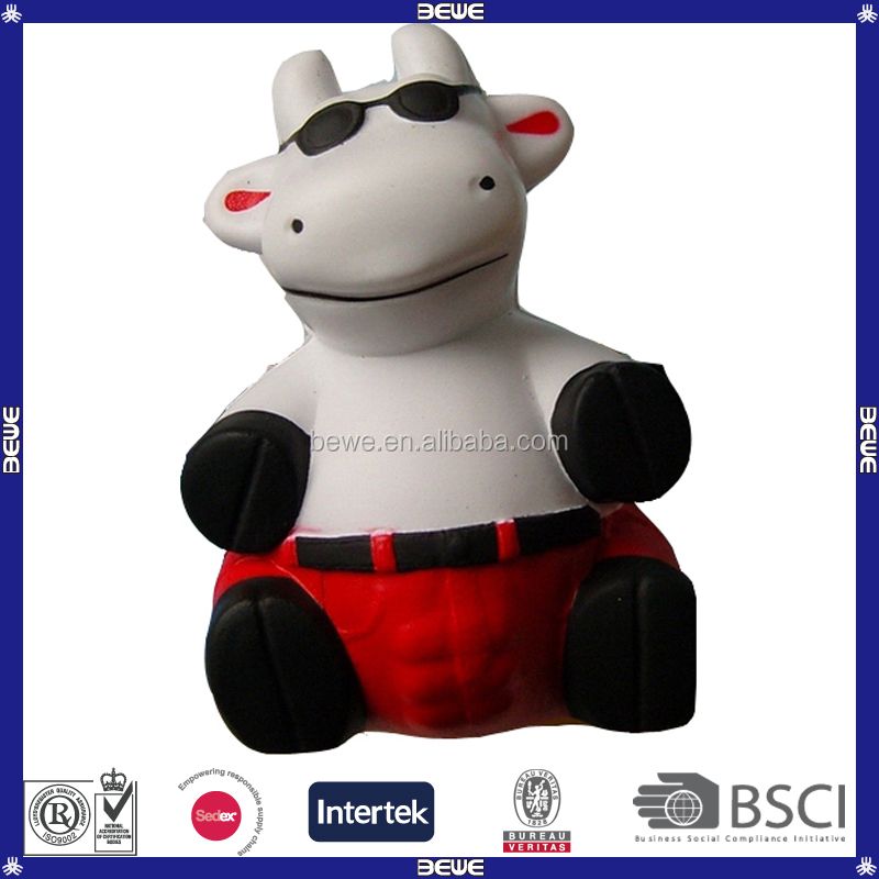 Kids Like Soft Lovely PU Cow With Glasses Stress Ball