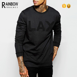 High quality men Long Sleeve black towel embroidery T-Shirt