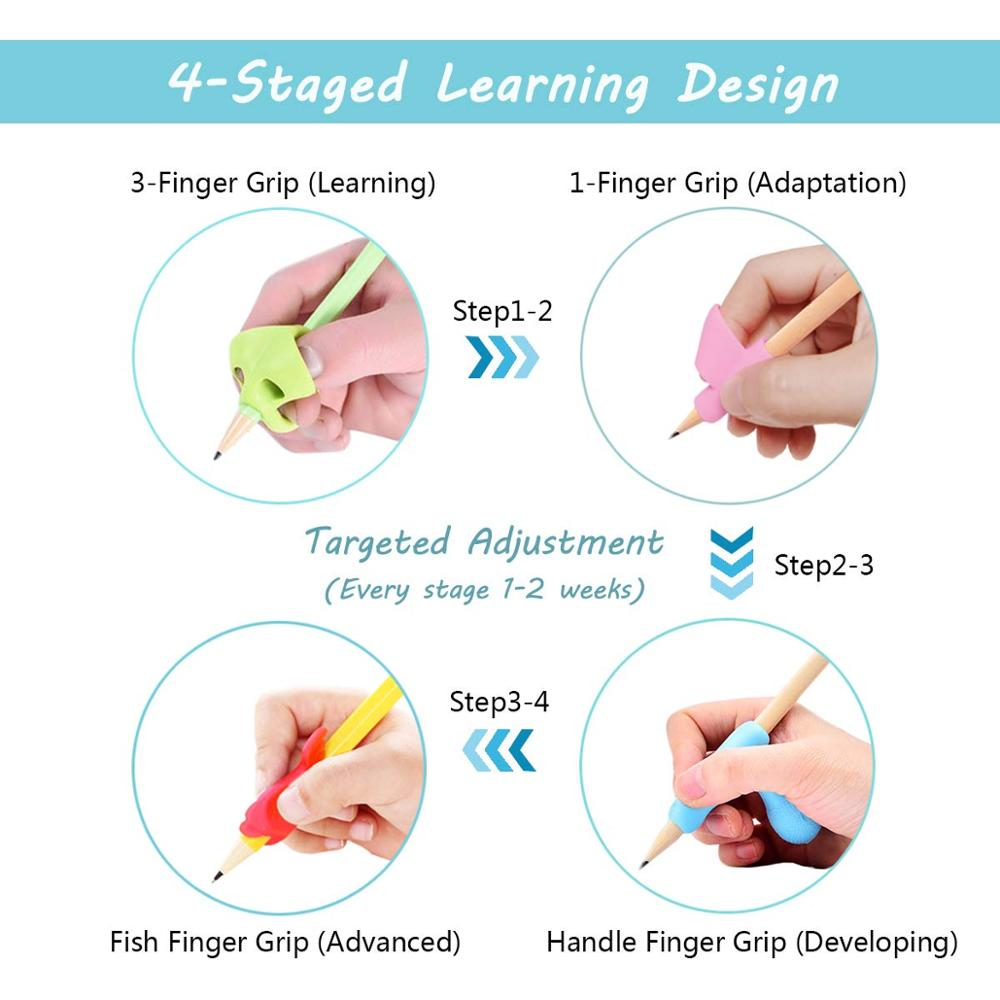 silicone pencil grip rubber fingertip grips,Handwriting Pencil Holder, Ergonomic Writing Aid Grip Trainer