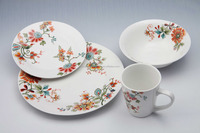 Ceramic white porcelain dinnerware sets 12 pcs / 16 pcs set of dinner plate