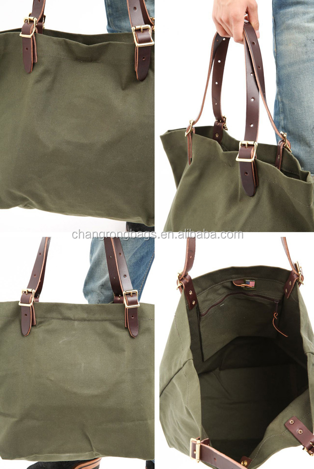 pretty waxed canvas tote bag leather handle bag