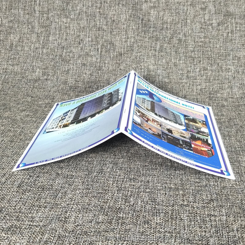 Custom Logo Printed Paper Leaflet Printing Saddle Stitching Chain Hotel Introduction Brochure Printing