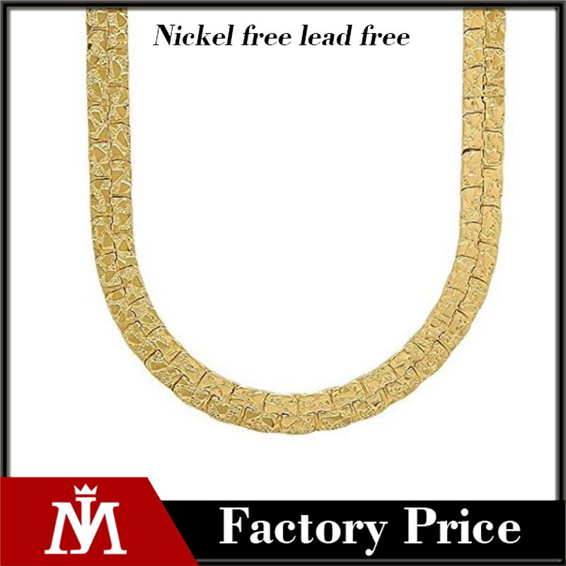 2017 16grams gold jewelry necklace 7mm 14k Gold Plated Nugget Chain