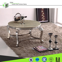 CT07R metal base stainless steel marble top round coffee table