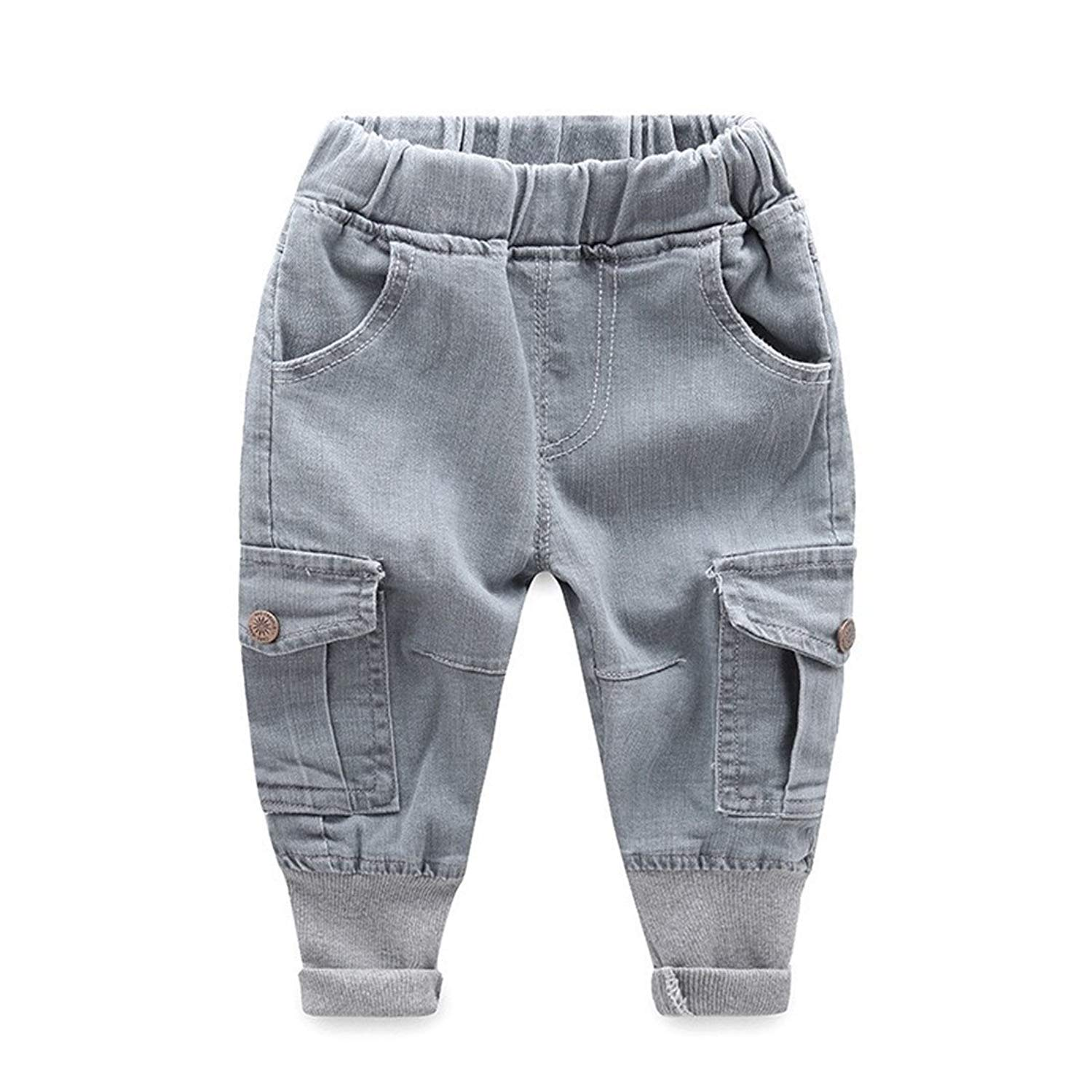 243feb7240 Get Quotations · Baby Boys Girls Denim Cargo Pants Casual Cowboy Denim  Harem Pants