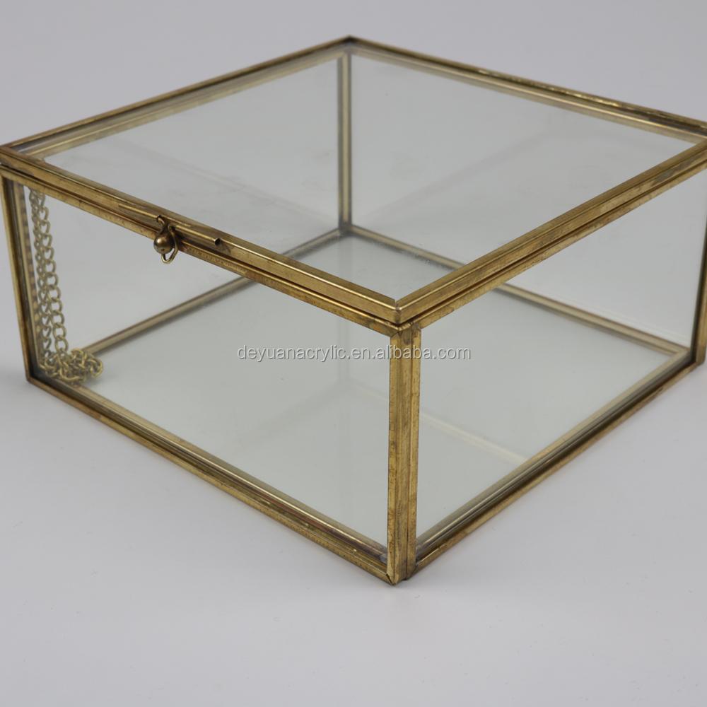 Caja de almacenamiento de acrílico transparente con vintage oro ...