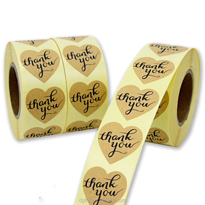 Kraft Paper Print Heart Thank You Stickers , Roll Brown Adhesive Kraft Paper Custom Labels