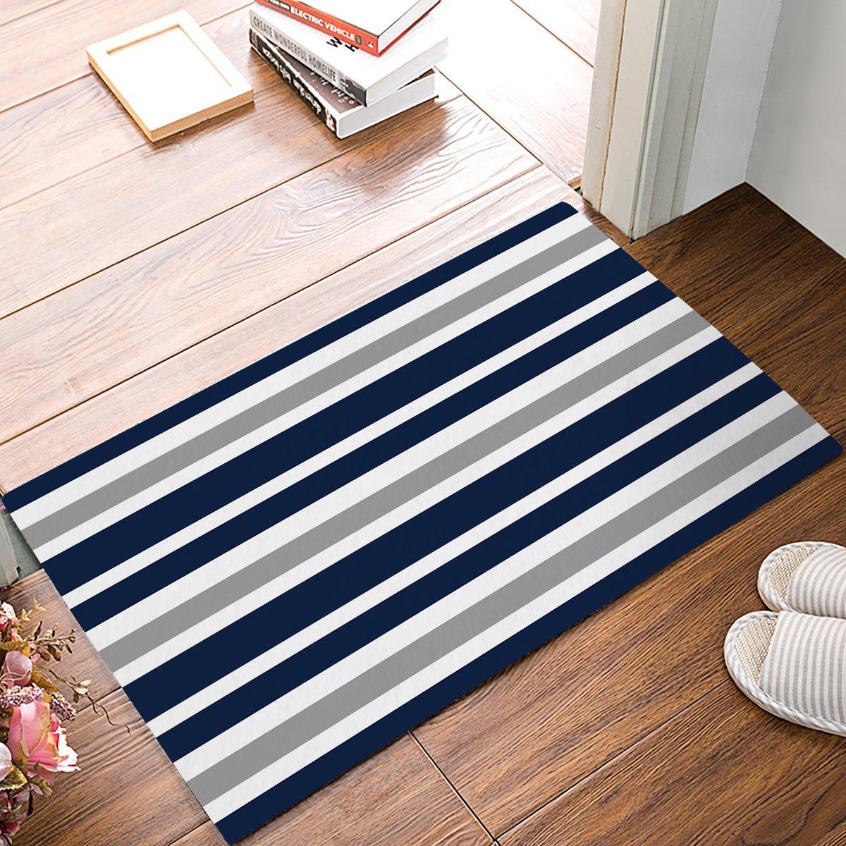 Lovingin Navy Blue Gray And White Kids Stripe Bath