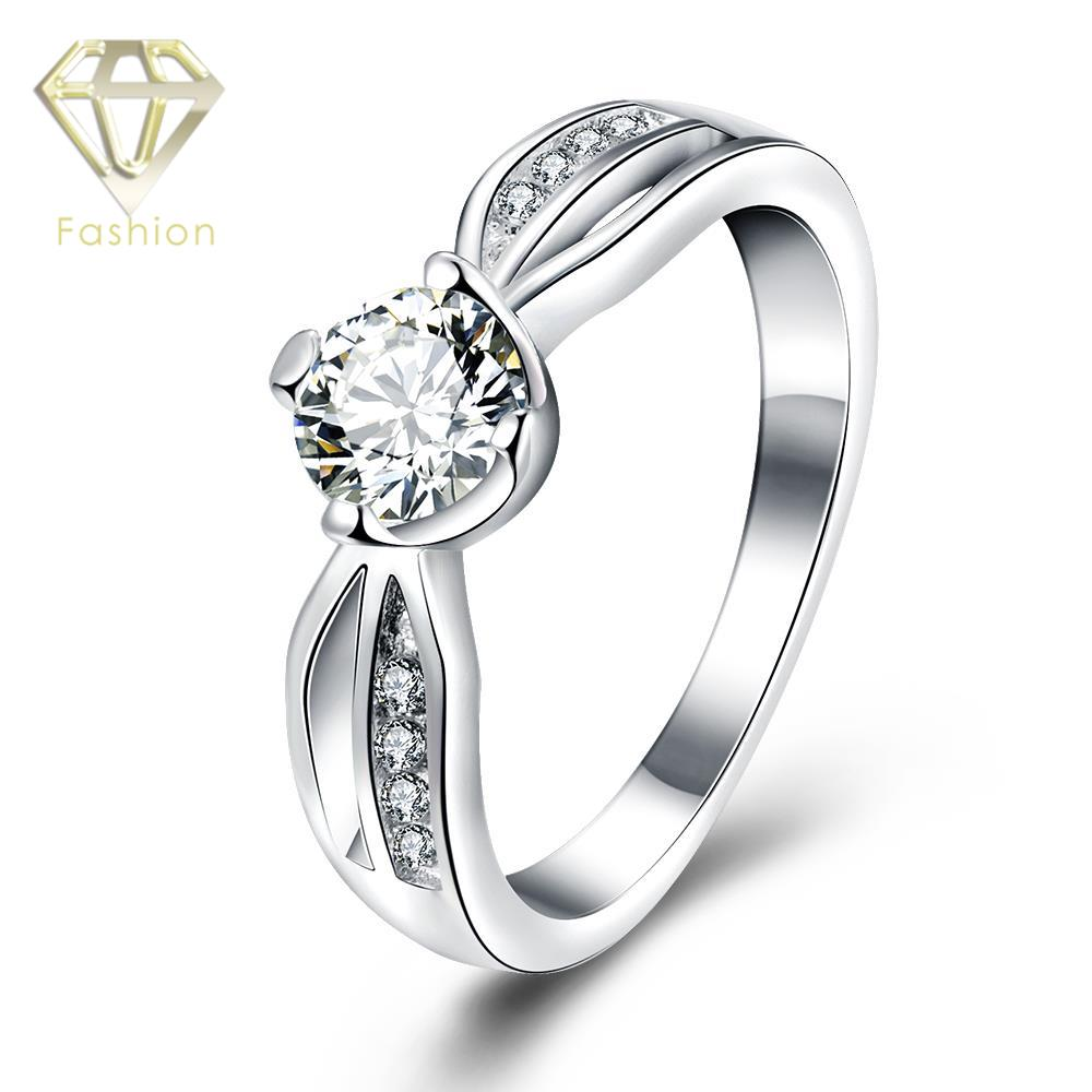 Princess Cut CZ Diamond Rings Simple Silver Plated with ...