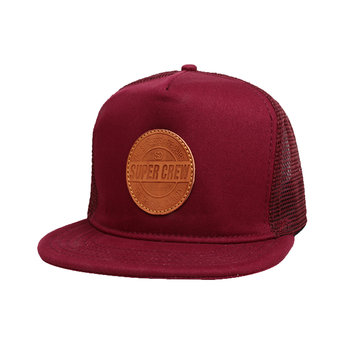 fd781f5e92c China Factory Custom Top Quality 5 Panel Leather Patch Nylon Yupoong  Classic Mesh Snapback Caps And