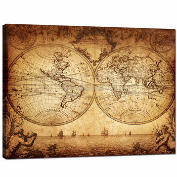 Vintage World Map Art.Vintage World Map Canvas Pictures Old Map Canvas Painitng Boat On