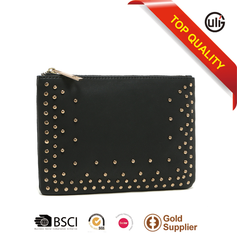 customize brand latest design ladies purse women black clutch bag