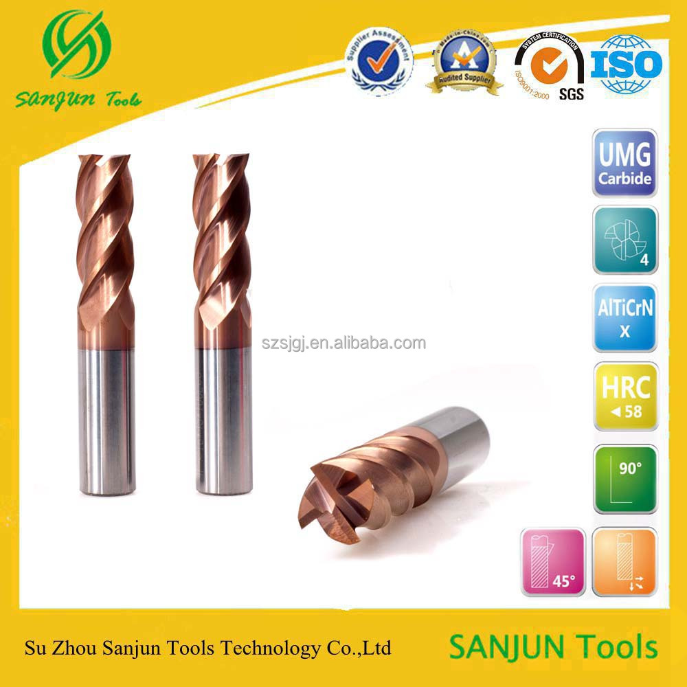 High Performance solid used carbid tungsten diamond flat end mill in milling cutter
