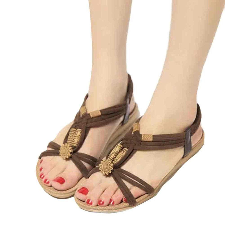 33a47afc9ea0ae ... Get Quotations · Clearance Women Sandals Flats Missyy Bohemia Sweet  Beaded Sandals Clip Toe Sandals Beach ...