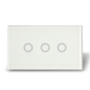 MakeGood US Intermediate Touch Switches Crystal Glass Panel With Blue Indicator 3 Gang 1 Way