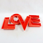 Hot! Customized Ceramic letter dish Plate LOVE table decor Red