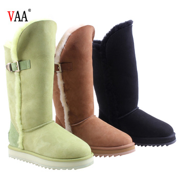AN-CF-41 Double Face Sheepskin Antiskid EVA And Rubber High Thigh Long Design Women's Boots Leather