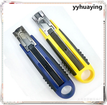 Auto Retractable Plastic Box Cutter with Rubber Coated Two Color Handle